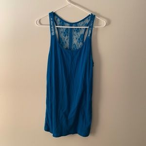 Blue American Eagle Tank with lace back